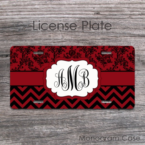 vintage maroon damask and chevron monogrammed license plate