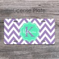 lavender and mint chevron  personalized car tag