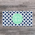 Mint navy diamond pattern license tag