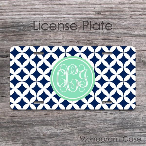 Mint navy diamond pattern license tag