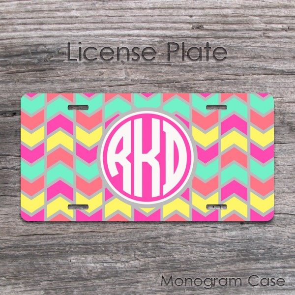 Modern multicolor chevron mint coral yellow grey car tag