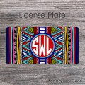 Southwestern monogrammed car plate tribal design indian pattern