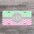 Moroccan mint pattern pink chevron personalized car tag