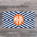 Navy arrows chevron orange car plate