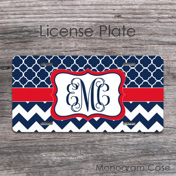 Navy blue quatrefoil pattern and chevron personalized license plate