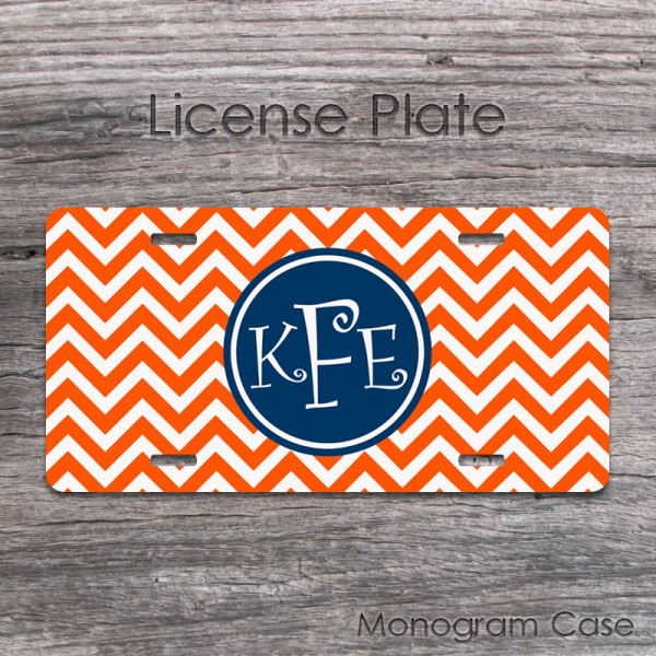 Tangerine navy customized license plate with monogram