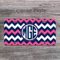 Neon pink navy chevron circle monogram car tag