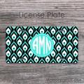 Peacock design aqua teal black white license plate