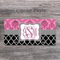 Pink damask black moroccan grey ribbon license plate