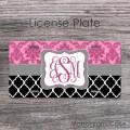 Pink damask black moroccan grey ribbon license plate