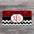 Pretty red damask black white chevron vine lettering tag
