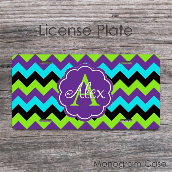 Purple lime turquoise black chevron car tag