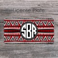 Red black white tribal indian pattern circle monogram tag