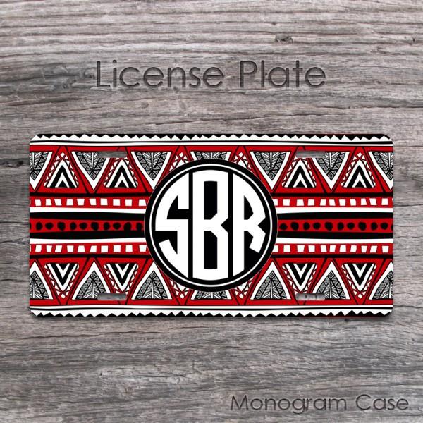 Red black white tribal indian pattern circle monogram tag