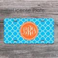 Sky blue rich orange pattern car tag