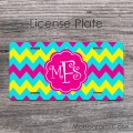 Sweet hot pink monogram light blue yellow chevron license plate