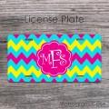 Sweet hot pink monogram light blue yellow chevron license plate