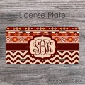 Boho tribal pattern maroon tan chevron monogrammed license plate