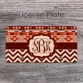 Boho tribal pattern maroon tan chevron monogrammed license plate