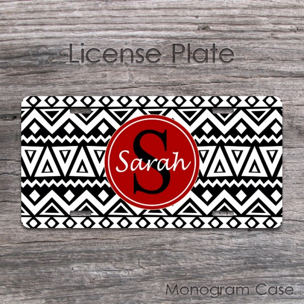 Tribal black and white aztec design car plate pattern