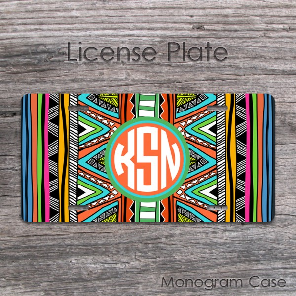Aztec license car tag with tribal pattern design