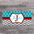 Turquoise pattern charcoal gray chevron maroon design car plate