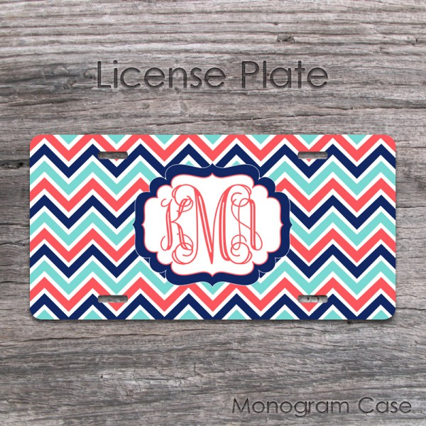 Vanity chevron bright coral light blue navy design front tag