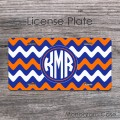 Wavy royal blue orange chevron customized front tag