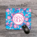 Flowers pink tulips on sky blue lavender desk pad