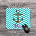 Aztec anchor aqua blue chevron mouse pad