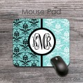 Black white on aqua blue damask pattern monogrammed pad