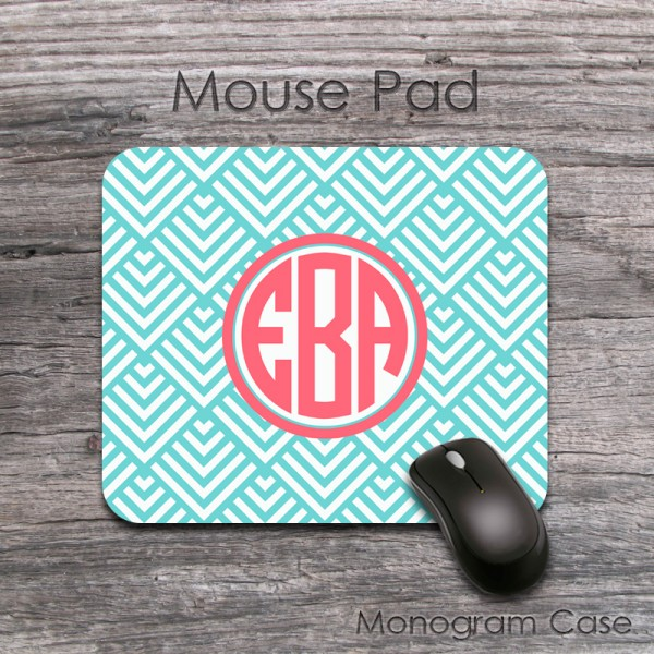 Blue pattern circle monogrammed mouse pad