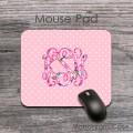 Blush pink polka dots floral design monogram pad