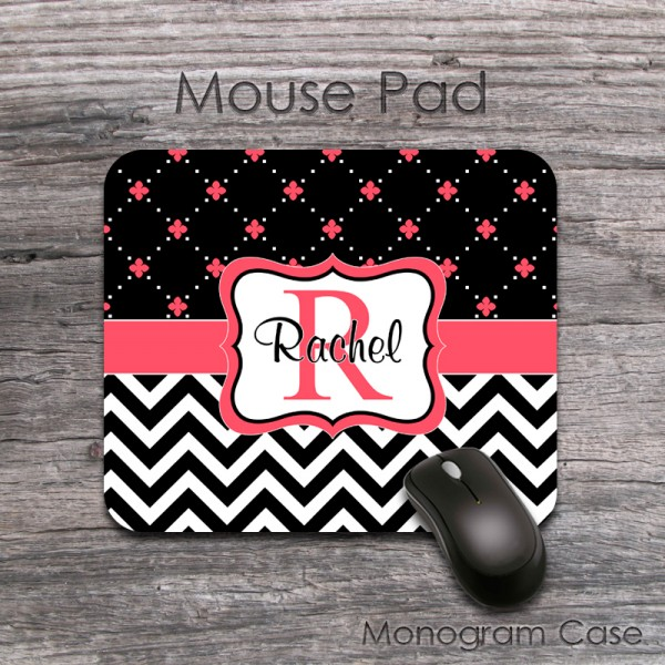 Coral floral pattern black chevron monogrammed mat