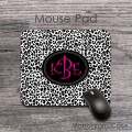 Cheetah design mouse pad with hot pink monogram