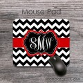 Chevron black white pattern red ribbon desk pad