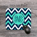 Chevron aqua and dark blue computer mouse pad