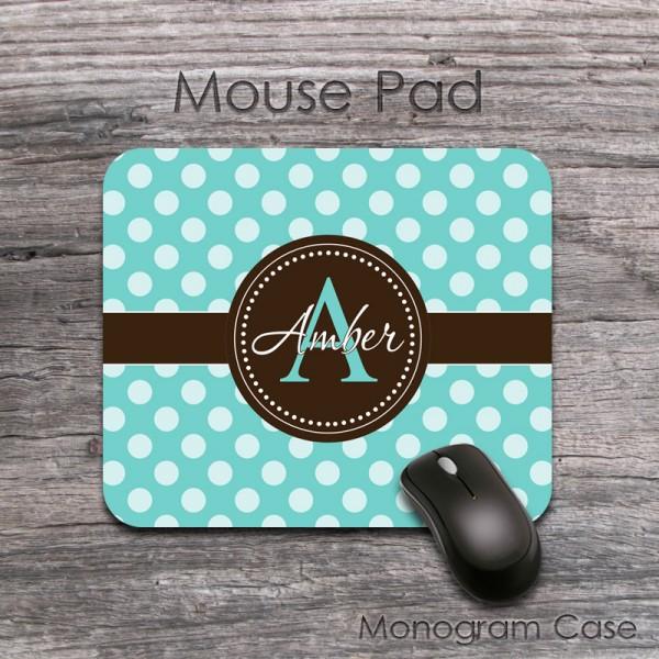 Chocolate brown ribbon light teal polka dots mousepad
