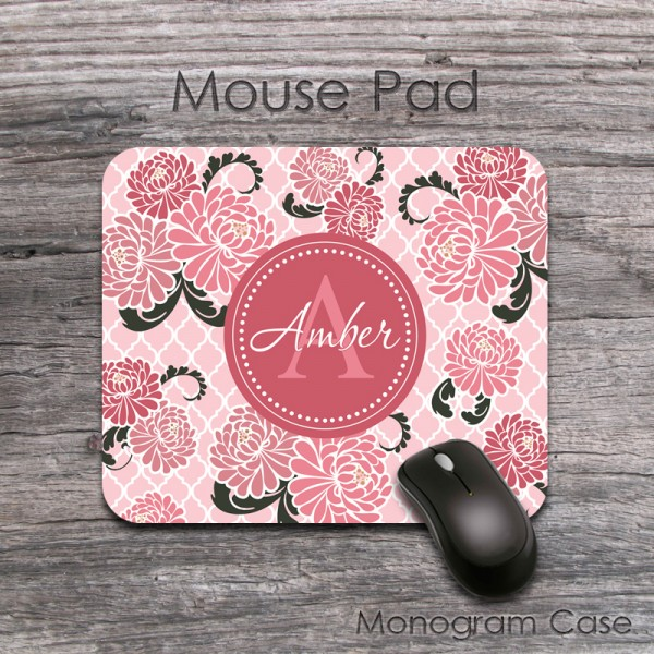 Chrysanthemums blush pink floral pattern fancy lettering mat