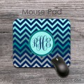 Colorful ombre chevron desk mouse pad