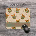 Colourfull owls pattern tan background customized mousepad