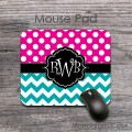 Cool magenta polka dots teal chevron desk pad