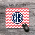 Coral chevron circle monogram office mouse pad