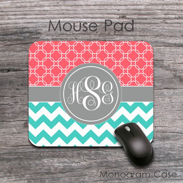 Coral moroccan pattern teal chevron mouse pad