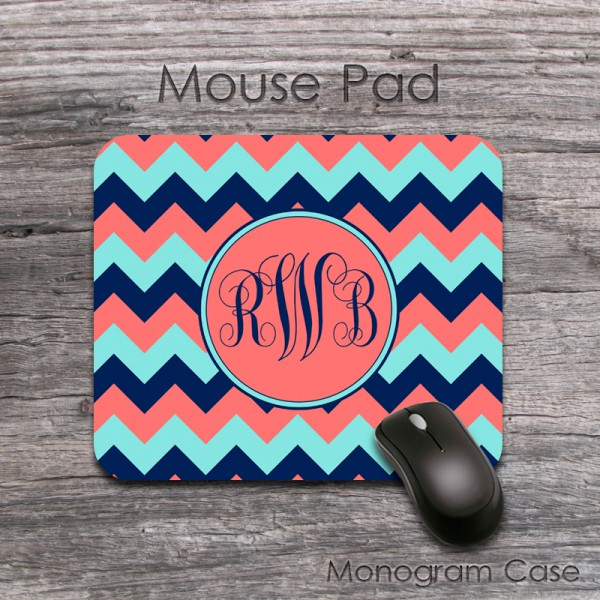 Mixed chevron coral and navy mouse pad with monogram