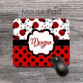 Cute ladybug red black polka dots design mousepad