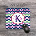 Cute navy hot magenta lime zig zag pattern mouse pad