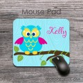 Cute owl print on computer mouse pad