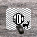 Deer gray chevron monogrammed mouse pad