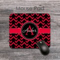 Desk mat modern red black cut chevron